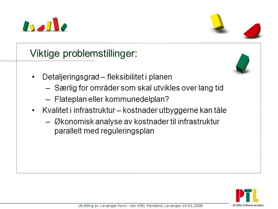 Utvikling av Levanger havn - Jan Willy Føreland, Levanger 26.01.2009 Viktige problemstillinger: Detaljeringsgrad – fleksibilitet i planen –Særlig for