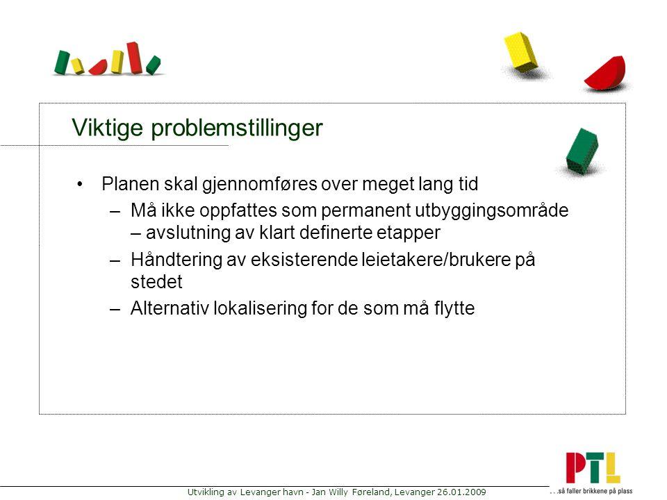 Utvikling av Levanger havn - Jan Willy Føreland, Levanger 26.01.2009 Viktige problemstillinger Planen skal gjennomføres over meget lang tid –Må ikke o
