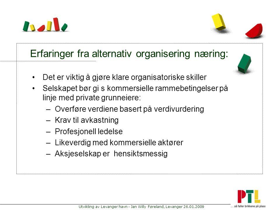 Utvikling av Levanger havn - Jan Willy Føreland, Levanger 26.01.2009 Erfaringer fra alternativ organisering næring: Det er viktig å gjøre klare organi