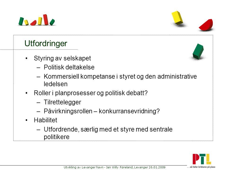 Utvikling av Levanger havn - Jan Willy Føreland, Levanger 26.01.2009 Utfordringer Styring av selskapet –Politisk deltakelse –Kommersiell kompetanse i