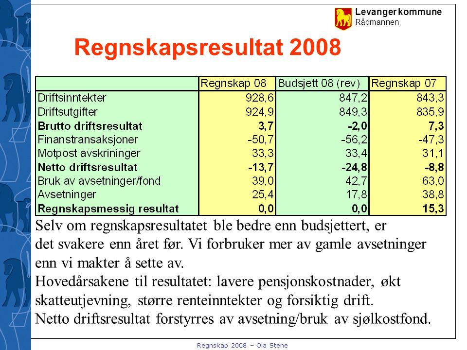 Levanger kommune Rådmannen Regnskap 2008 – Ola Stene Regnskapsresultat 2008 Selv om regnskapsresultatet ble bedre enn budsjettert, er det svakere enn