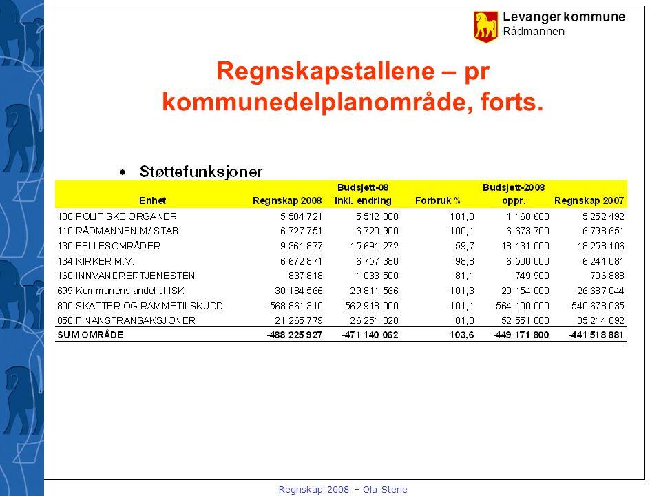 Levanger kommune Rådmannen Regnskap 2008 – Ola Stene Regnskapstallene – pr kommunedelplanområde, forts.