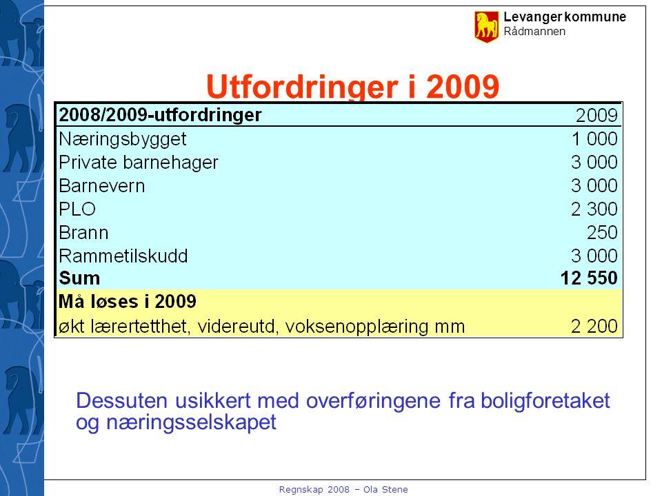 Levanger kommune Rådmannen Regnskap 2008 – Ola Stene Utfordringer i 2009 Dessuten usikkert med overføringene fra boligforetaket og næringsselskapet