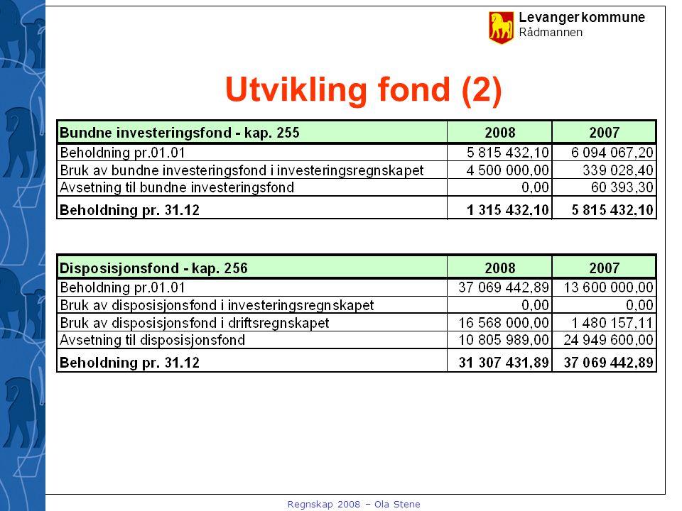Levanger kommune Rådmannen Regnskap 2008 – Ola Stene Utvikling i netto driftsresultat