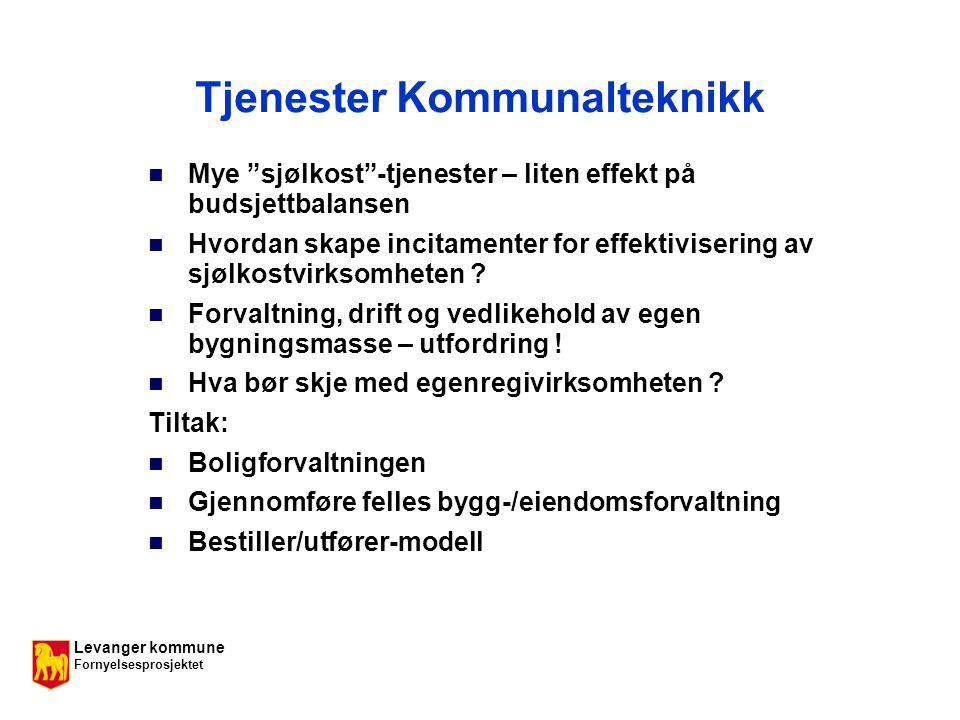 Levanger kommune Fornyelsesprosjektet Tjenester Kommunalteknikk Mye sjølkost -tjenester – liten effekt på budsjettbalansen Hvordan skape incitamenter for effektivisering av sjølkostvirksomheten .