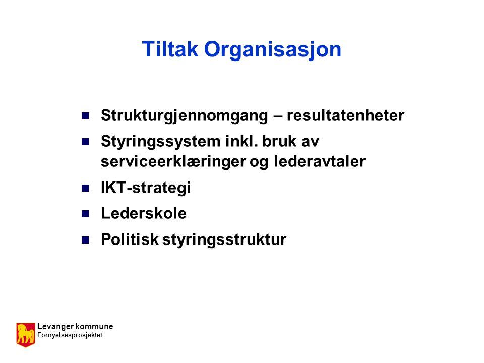 Levanger kommune Fornyelsesprosjektet Tiltak Organisasjon Strukturgjennomgang – resultatenheter Styringssystem inkl.