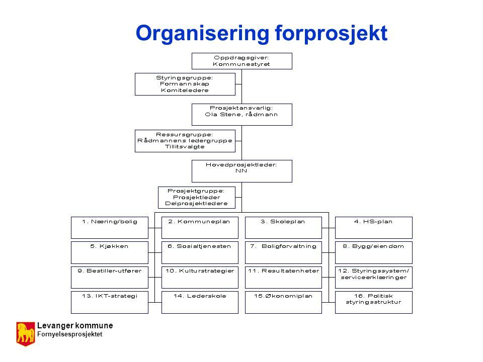 Levanger kommune Fornyelsesprosjektet Organisering forprosjekt