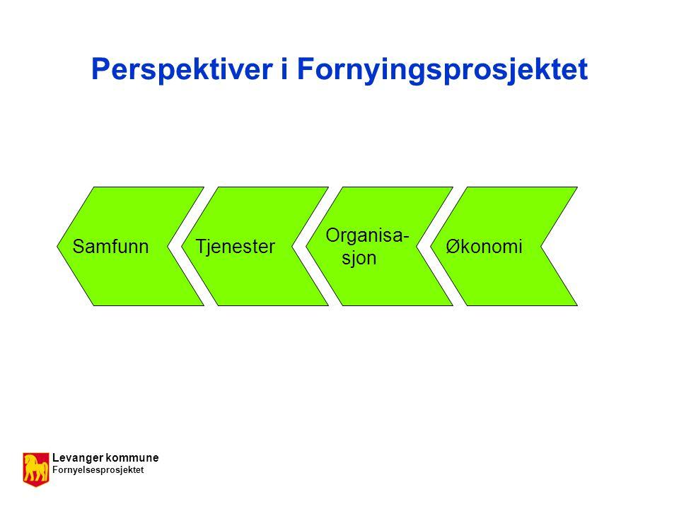 Levanger kommune Fornyelsesprosjektet Perspektiver i Fornyingsprosjektet SamfunnTjenester Organisa- sjon Økonomi