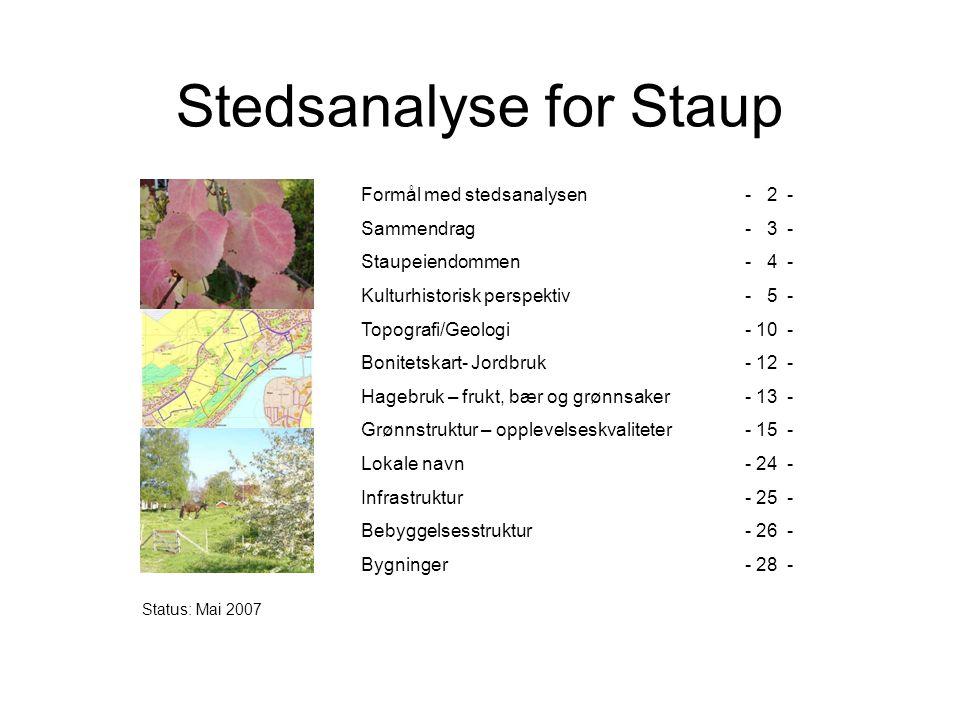 Staup er en del av Levangers identitet Siden begynnelsen av 1900- tallet har Staup utviklet en identitet som hagebrukets mekka for hele Midt- og Nord Norge.
