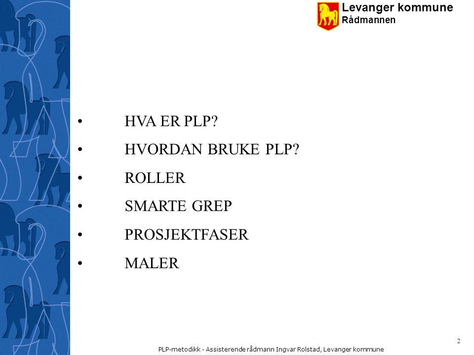 Levanger kommune Rådmannen PLP-metodikk - Assisterende rådmann Ingvar Rolstad, Levanger kommune 23 Prosjektledelse Ved oppdrag knyttet rundt prosjekt/prosjektledelse benyttes PLP-prosessen.