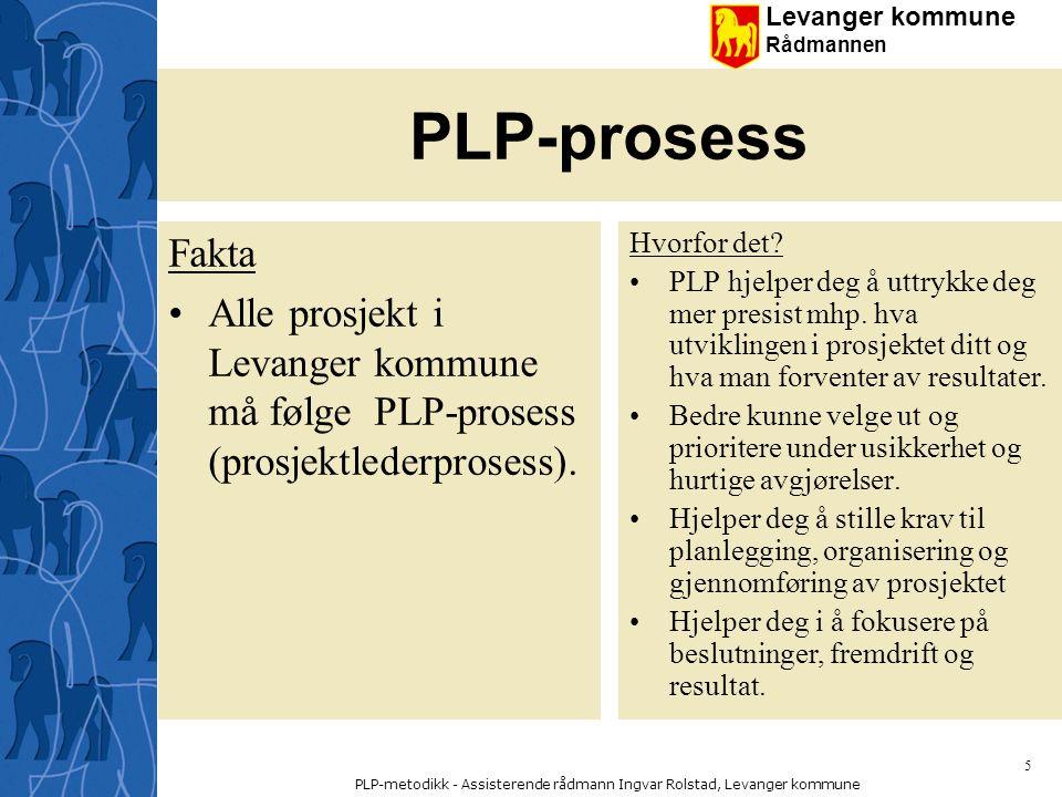 Levanger kommune Rådmannen PLP-metodikk - Assisterende rådmann Ingvar Rolstad, Levanger kommune 46 Prosjektivitet S1 x S2 x G1 = E1 S1 = Grip vi tak i de riktige tinga - stiller vi det riktige spørsmålet S2 = Har vi det riktige svaret på spørsmålet G1 = Er vi i stand til å gjennomføre svaret Dersom noen av disse enkeltfaktorene er null - er resultatet null !