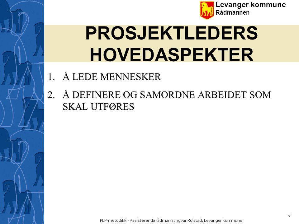Levanger kommune Rådmannen PLP-metodikk - Assisterende rådmann Ingvar Rolstad, Levanger kommune 57 Hvordan lykkes med prosjekter .