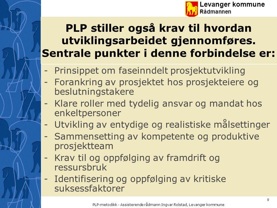 Levanger kommune Rådmannen PLP-metodikk - Assisterende rådmann Ingvar Rolstad, Levanger kommune 30 PROSJEKTPLAN Prosjektplanen skal gi en oversikt over prosjektet med mål, beslutningspunkter, kritiske suksessfaktorer, milepæler, ressurser, organisering etc.