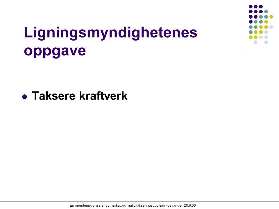 En orientering om eiendomsskatt og mulig takseringsopplegg - Levanger, 28.6.06 Ligningsmyndighetenes oppgave Taksere kraftverk