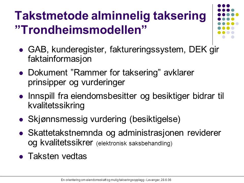 """En orientering om eiendomsskatt og mulig takseringsopplegg - Levanger, 28.6.06 Takstmetode alminnelig taksering """"Trondheimsmodellen"""" GAB, kunderegiste"""