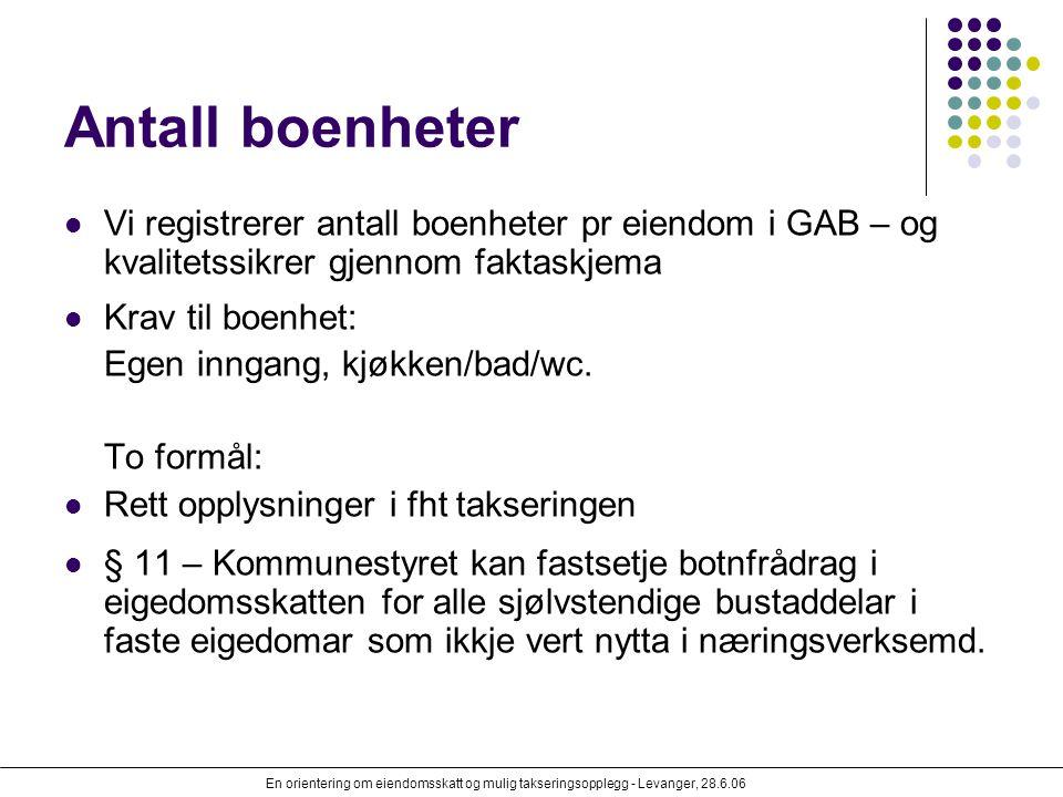 En orientering om eiendomsskatt og mulig takseringsopplegg - Levanger, 28.6.06 Antall boenheter Vi registrerer antall boenheter pr eiendom i GAB – og