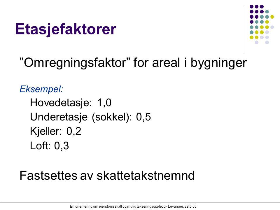 """En orientering om eiendomsskatt og mulig takseringsopplegg - Levanger, 28.6.06 Etasjefaktorer """"Omregningsfaktor"""" for areal i bygninger Eksempel: Hoved"""