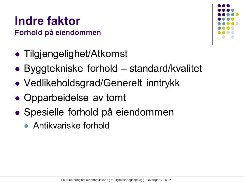 En orientering om eiendomsskatt og mulig takseringsopplegg - Levanger, 28.6.06 Indre faktor Forhold på eiendommen Tilgjengelighet/Atkomst Byggtekniske