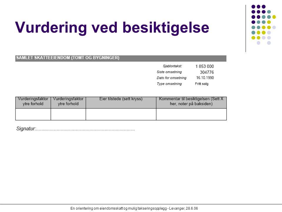 En orientering om eiendomsskatt og mulig takseringsopplegg - Levanger, 28.6.06 Vurdering ved besiktigelse
