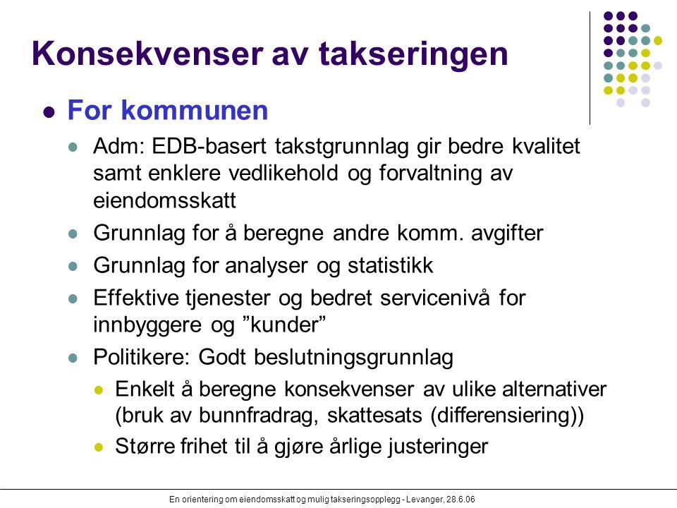 En orientering om eiendomsskatt og mulig takseringsopplegg - Levanger, 28.6.06 Konsekvenser av takseringen For kommunen Adm: EDB-basert takstgrunnlag
