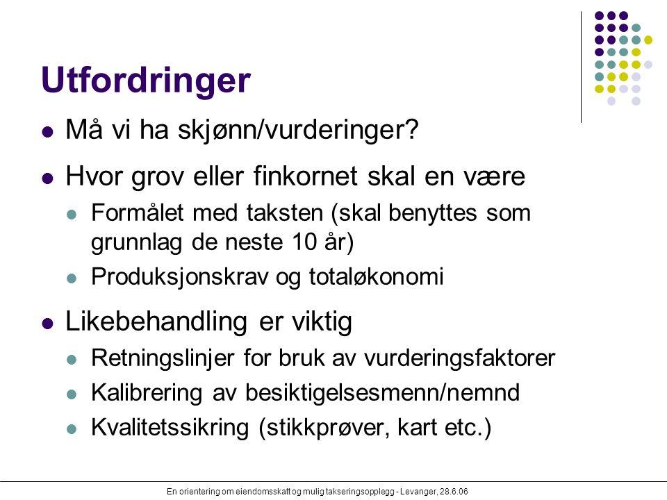 En orientering om eiendomsskatt og mulig takseringsopplegg - Levanger, 28.6.06 Utfordringer Må vi ha skjønn/vurderinger? Hvor grov eller finkornet ska