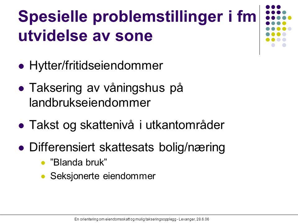 En orientering om eiendomsskatt og mulig takseringsopplegg - Levanger, 28.6.06 Spesielle problemstillinger i fm utvidelse av sone Hytter/fritidseiendo