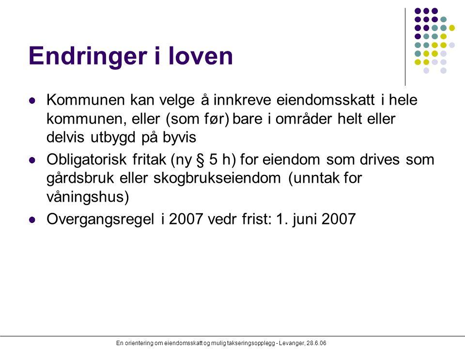 En orientering om eiendomsskatt og mulig takseringsopplegg - Levanger, 28.6.06 Endringer i loven Kommunen kan velge å innkreve eiendomsskatt i hele ko