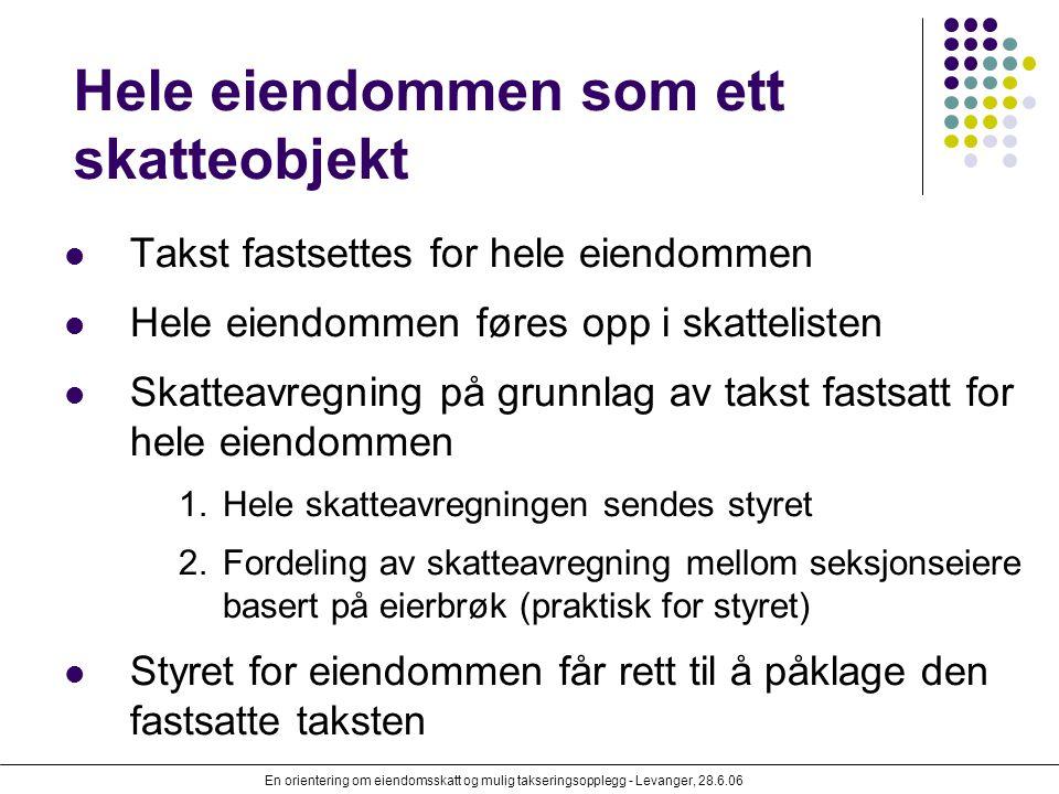 En orientering om eiendomsskatt og mulig takseringsopplegg - Levanger, 28.6.06 Hele eiendommen som ett skatteobjekt Takst fastsettes for hele eiendomm