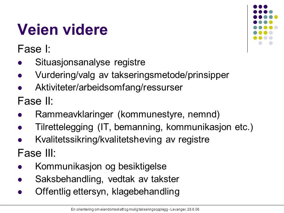 En orientering om eiendomsskatt og mulig takseringsopplegg - Levanger, 28.6.06 Veien videre Fase I: Situasjonsanalyse registre Vurdering/valg av takse
