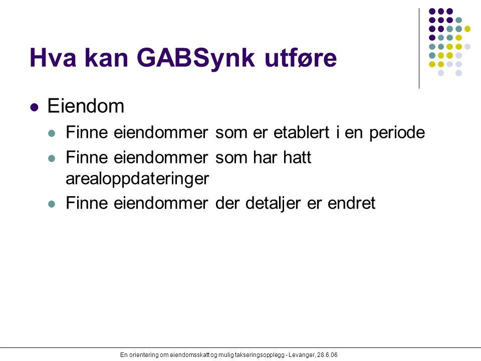 En orientering om eiendomsskatt og mulig takseringsopplegg - Levanger, 28.6.06 Hva kan GABSynk utføre Eiendom Finne eiendommer som er etablert i en pe