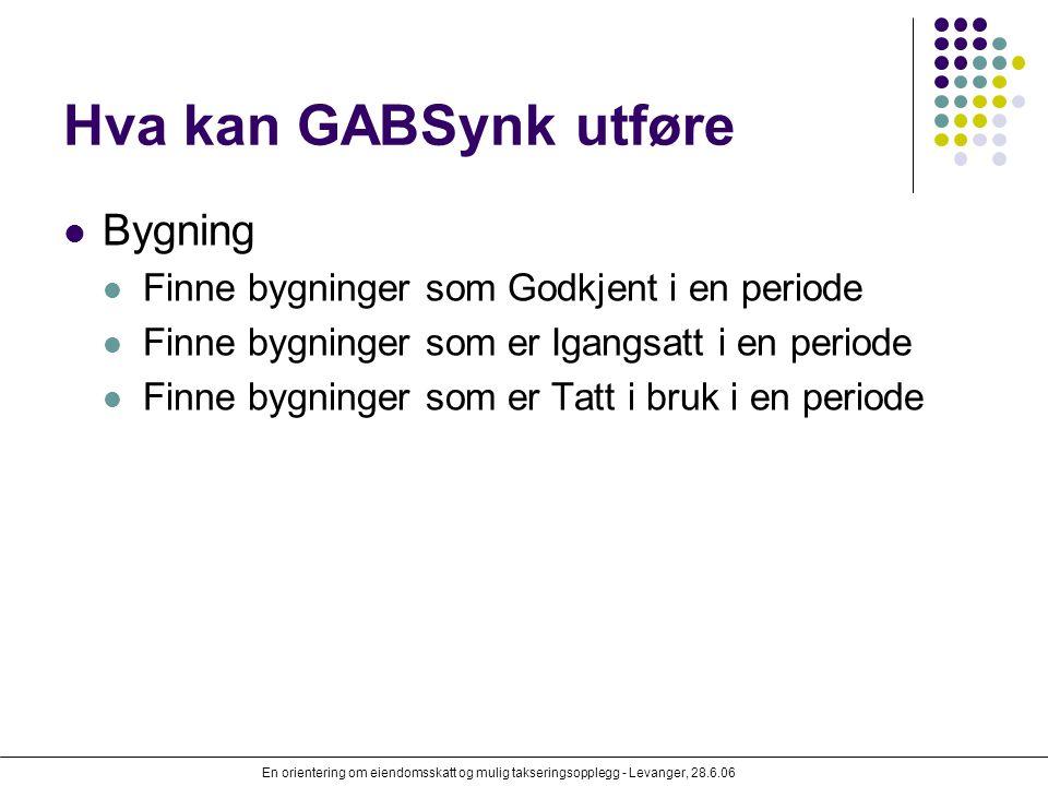 En orientering om eiendomsskatt og mulig takseringsopplegg - Levanger, 28.6.06 Hva kan GABSynk utføre Bygning Finne bygninger som Godkjent i en period