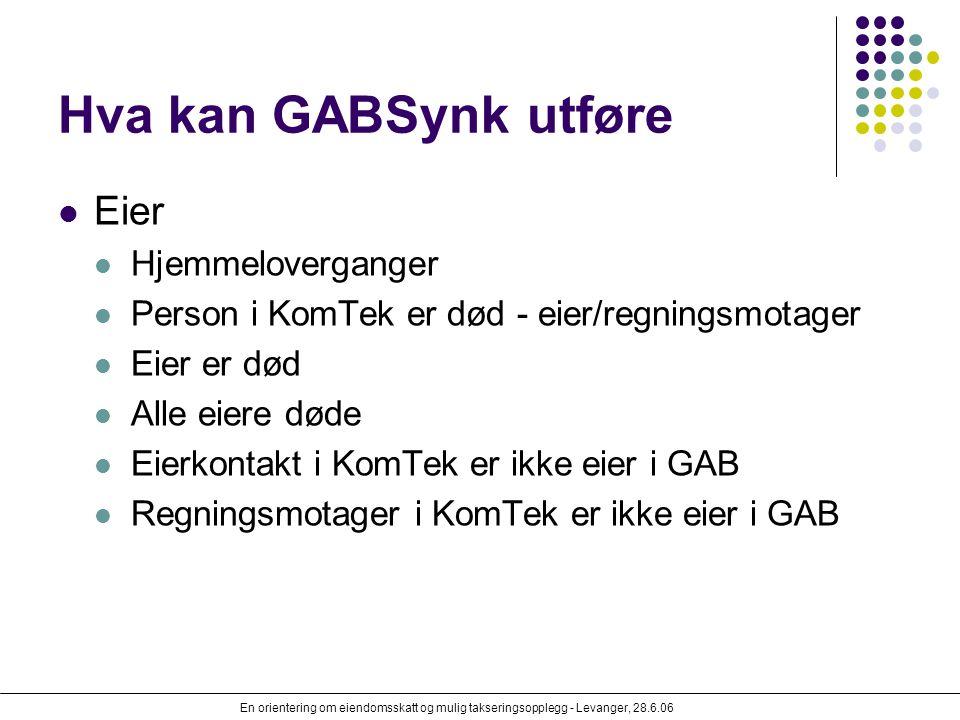 En orientering om eiendomsskatt og mulig takseringsopplegg - Levanger, 28.6.06 Hva kan GABSynk utføre Eier Hjemmeloverganger Person i KomTek er død -