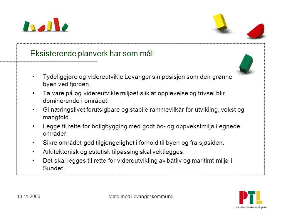 13.11.2006Møte med Levanger kommune Eksisterende planverk har som mål: Tydeliggjøre og videreutvikle Levanger sin posisjon som den grønne byen ved fjo