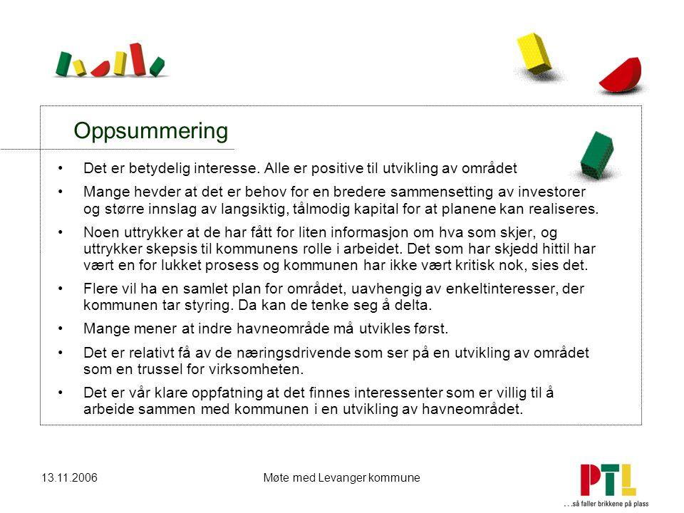13.11.2006Møte med Levanger kommune Oppsummering Det er betydelig interesse. Alle er positive til utvikling av området Mange hevder at det er behov fo