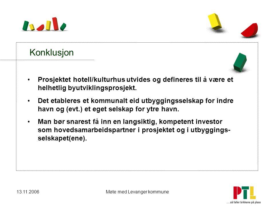 13.11.2006Møte med Levanger kommune Konklusjon Prosjektet hotell/kulturhus utvides og defineres til å være et helhetlig byutviklingsprosjekt. Det etab