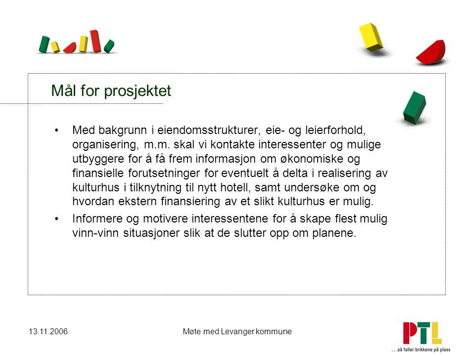 13.11.2006Møte med Levanger kommune Mål for prosjektet Med bakgrunn i eiendomsstrukturer, eie- og leierforhold, organisering, m.m. skal vi kontakte in