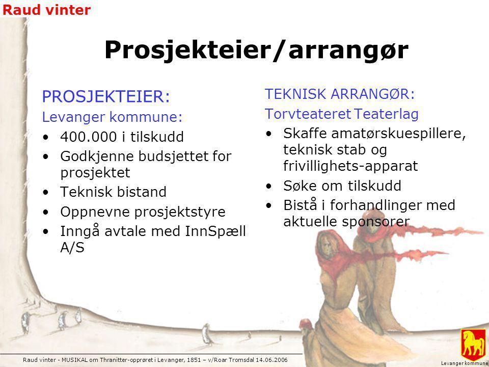 Raud vinter - MUSIKAL om Thranitter-opprøret i Levanger, 1851 – v/Roar Tromsdal 14.06.2006 Raud vinter Levanger kommune PROSJEKTEIER: Levanger kommune