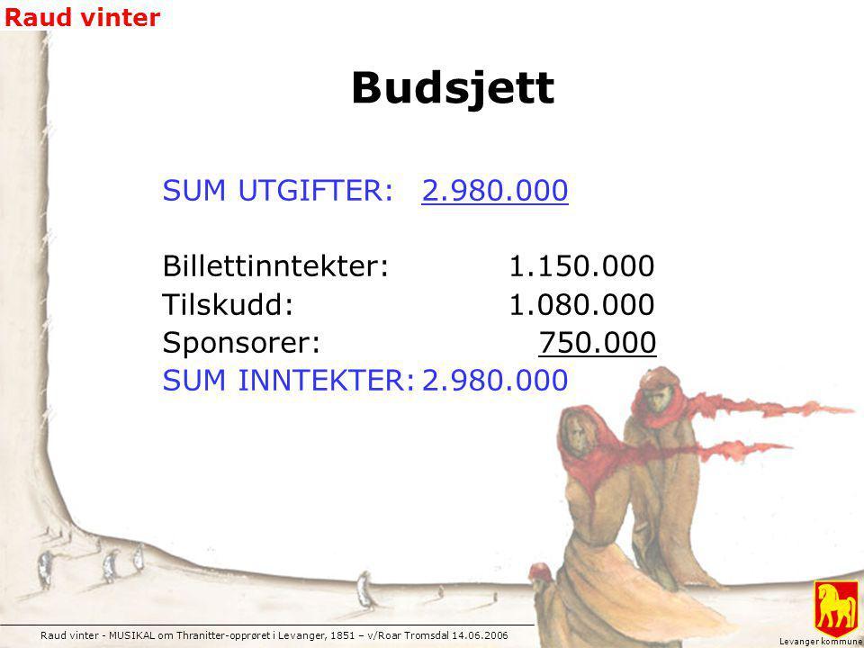Raud vinter - MUSIKAL om Thranitter-opprøret i Levanger, 1851 – v/Roar Tromsdal 14.06.2006 Raud vinter Levanger kommune SUM UTGIFTER: 2.980.000 Billet