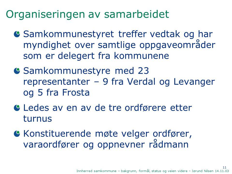11 Innherred samkommune – bakgrunn, formål, status og veien videre – Jørund Nilsen 14.11.03 Organiseringen av samarbeidet Samkommunestyret treffer ved