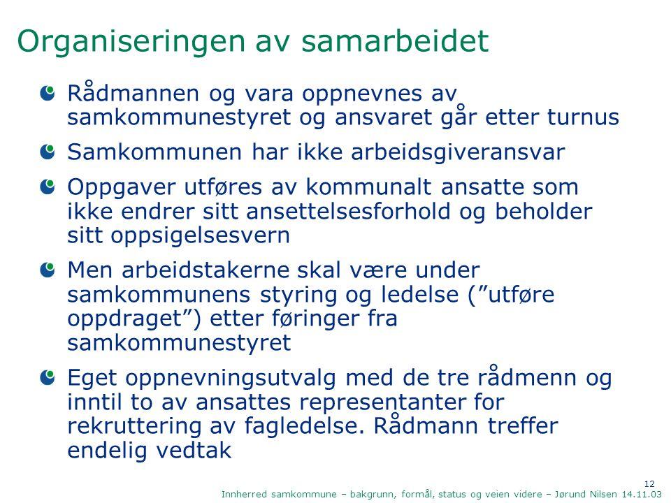 12 Innherred samkommune – bakgrunn, formål, status og veien videre – Jørund Nilsen 14.11.03 Organiseringen av samarbeidet Rådmannen og vara oppnevnes