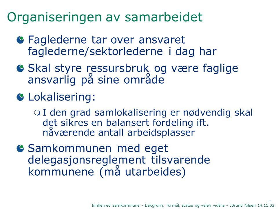 13 Innherred samkommune – bakgrunn, formål, status og veien videre – Jørund Nilsen 14.11.03 Organiseringen av samarbeidet Faglederne tar over ansvaret