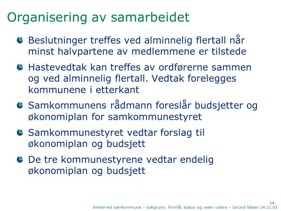 14 Innherred samkommune – bakgrunn, formål, status og veien videre – Jørund Nilsen 14.11.03 Organisering av samarbeidet Beslutninger treffes ved almin