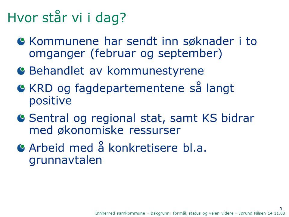 4 Innherred samkommune – bakgrunn, formål, status og veien videre – Jørund Nilsen 14.11.03 Hva kjennetegner samkommunen.