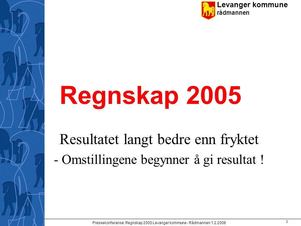 Levanger kommune rådmannen Pressekonferanse: Regnskap 2005 Levanger kommune - Rådmannen 1.2.2006 1 Regnskap 2005 Resultatet langt bedre enn fryktet -