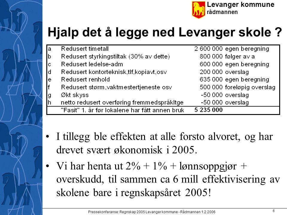 Levanger kommune rådmannen Pressekonferanse: Regnskap 2005 Levanger kommune - Rådmannen 1.2.2006 6 Hjalp det å legge ned Levanger skole ? I tillegg bl