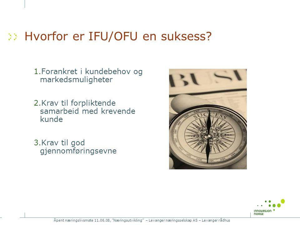 Åpent næringslivsmøte 11.06.08, Næringsutvikling – Levanger næringsselskap AS – Levanger rådhus Hvorfor er IFU/OFU en suksess.