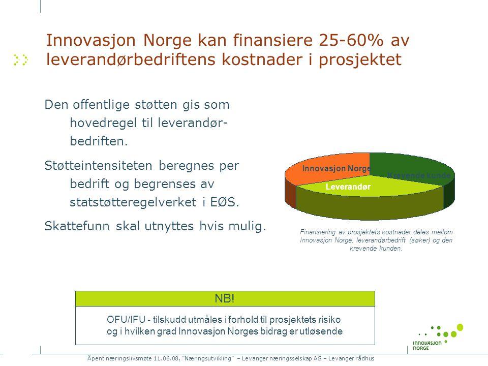 Åpent næringslivsmøte 11.06.08, Næringsutvikling – Levanger næringsselskap AS – Levanger rådhus Innovasjon Norge kan finansiere 25-60% av leverandørbedriftens kostnader i prosjektet Den offentlige støtten gis som hovedregel til leverandør- bedriften.