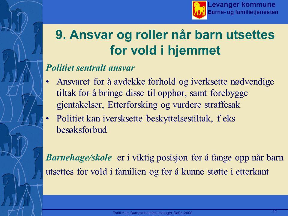 Levanger kommune Barne- og familietjenesten Torill Moe, Barnevernleder Levanger, BaFa, 2008 15 9. Ansvar og roller når barn utsettes for vold i hjemme
