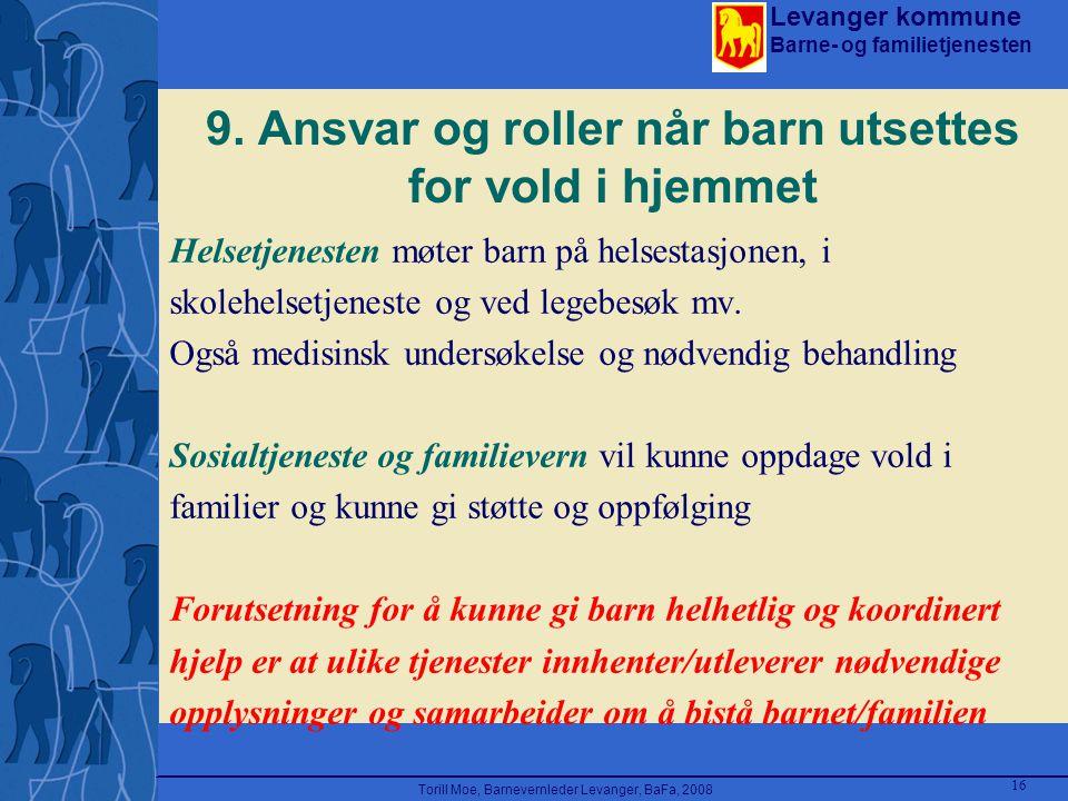 Levanger kommune Barne- og familietjenesten Torill Moe, Barnevernleder Levanger, BaFa, 2008 16 9. Ansvar og roller når barn utsettes for vold i hjemme