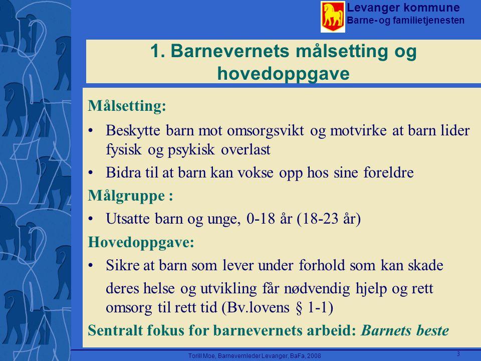 Levanger kommune Barne- og familietjenesten Torill Moe, Barnevernleder Levanger, BaFa, 2008 3 1. Barnevernets målsetting og hovedoppgave Målsetting: B